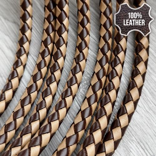 ∅5.0 Кожаный плетеный шнур 506 (Krast) | Beige & Brown