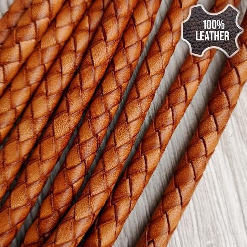 ∅5.0 Кожаный плетеный шнур (Antique NS) | Коричневый 2