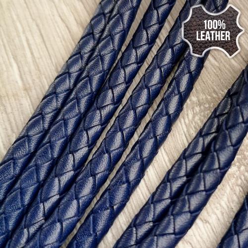 ∅5.0 Кожаный плетеный шнур (Krast) | Синий