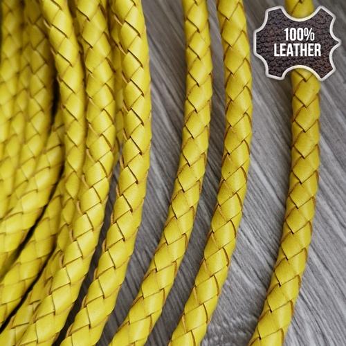 ∅5.0 Кожаный плетеный шнур 506 (Krast) | Желтый