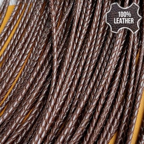 ∅2.5 Кожаный плетеный шнур (Krast) | Коричневый