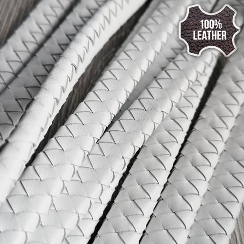 12х5мм Кожаный плетеный шнур (Krast) | Белый