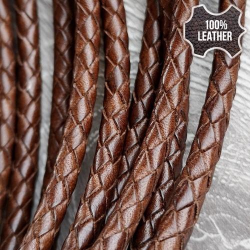 ∅5.0 Кожаный плетеный шнур (Antique NS) | Коричневый 3