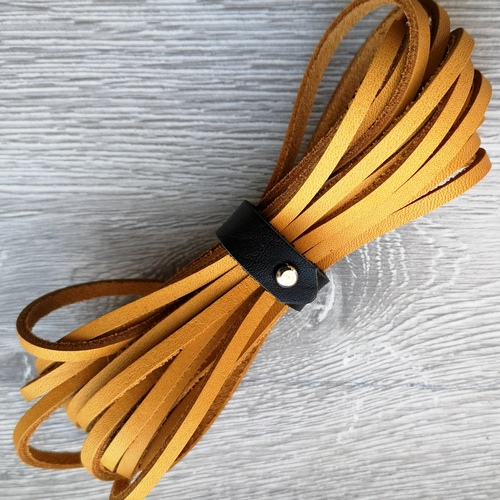 Шнурки кожаные для обуви 3.0х2800мм | Горчица