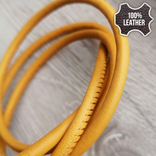 ∅5.0 Кожаный шнурок прошитый Nappa (Krast) | Горчица