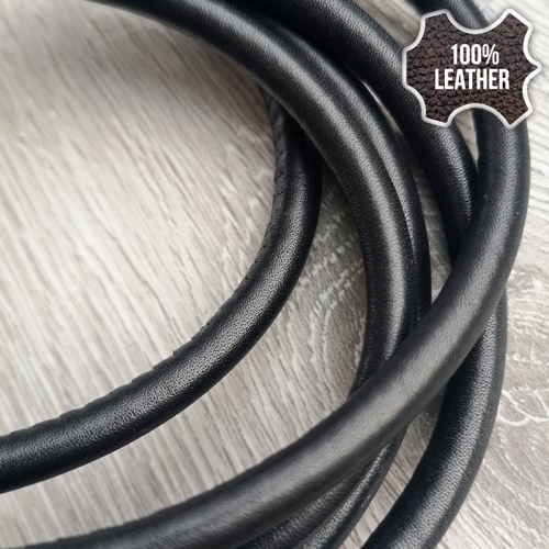 ∅5.0 Кожаный шнурок прошитый Nappa (Krast) | Черный