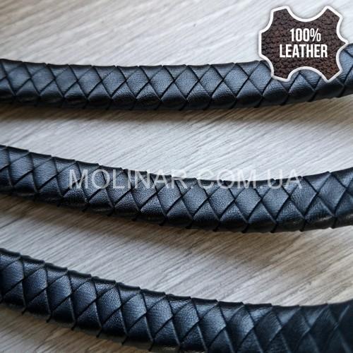 10х5мм Кожаный плетеный шнур (Krast) | Черный