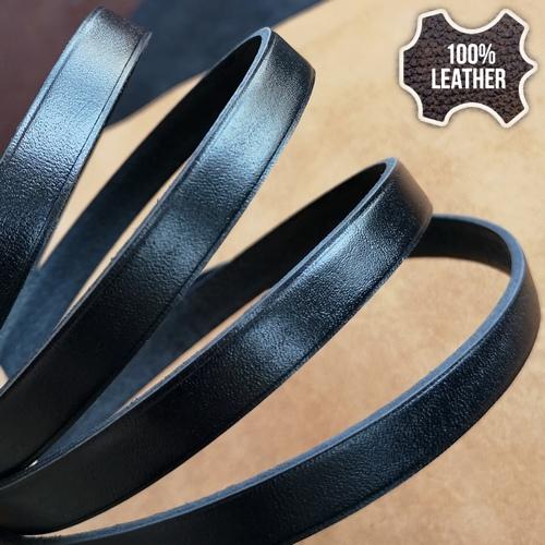 12.0 х 3.0 Кожаный плоский шнур HQ (Krast) | Черный