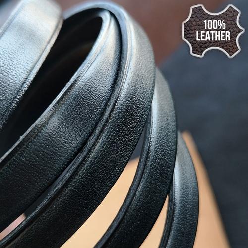 10.0 х 2.0 Кожаный плоский шнур HQ (Krast) | Черный