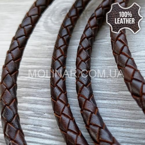 ∅5.0 Кожаный плетеный шнур (Antique NS) | Коричневый