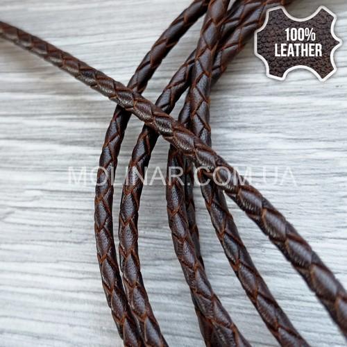 ∅3.0 Кожаный плетеный шнур (Antique NS) | Коричневый