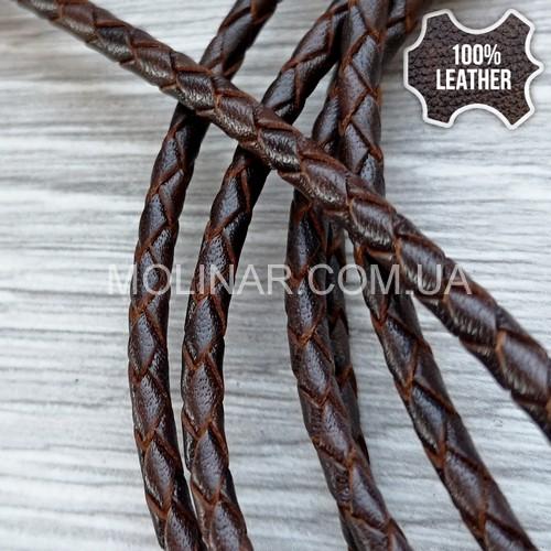 ∅4.0 Кожаный плетеный шнур (Antique NS) | Коричневый