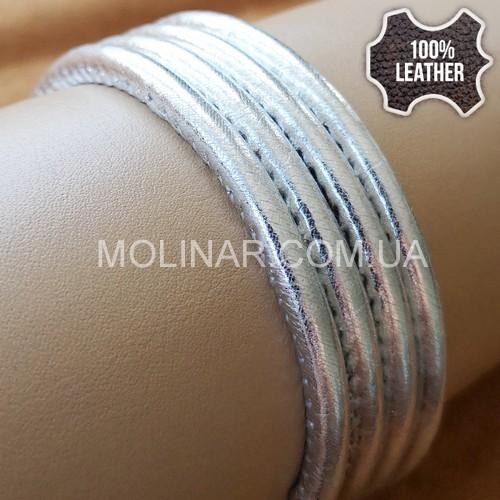 ∅5.0 Кожаный шнурок прошитый Nappa (Krast) | Silver