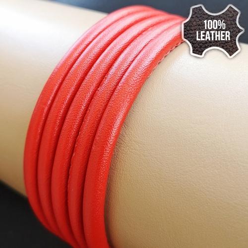 ∅5.0 Кожаный шнурок прошитый Nappa (Krast) | Красный