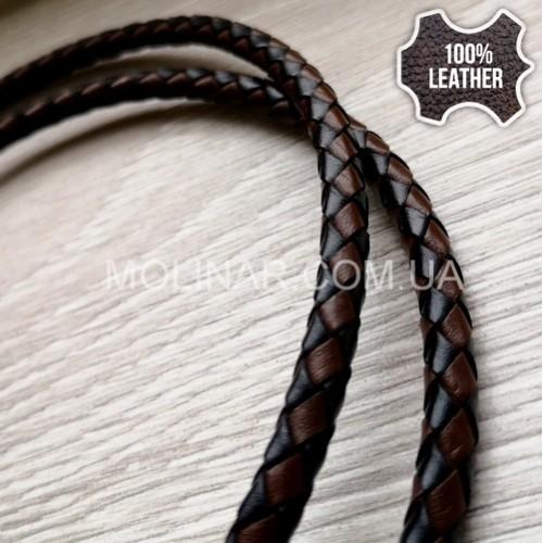 ∅5.0 Кожаный плетеный шнур 506 (Krast) | Black & Brown