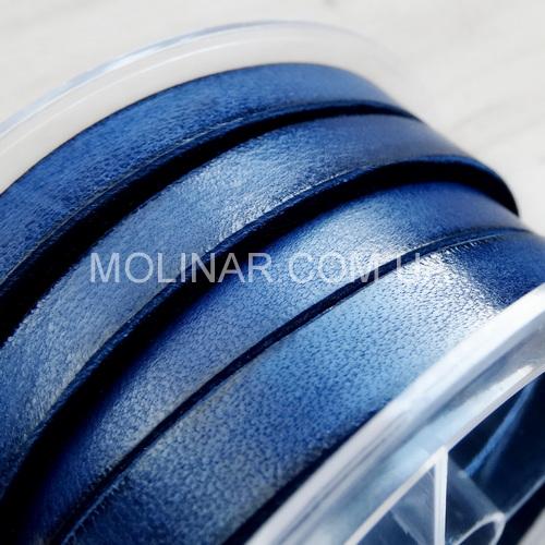 6.0 х 3.0 Кожаный плоский шнур HQ (Krast) | Синий