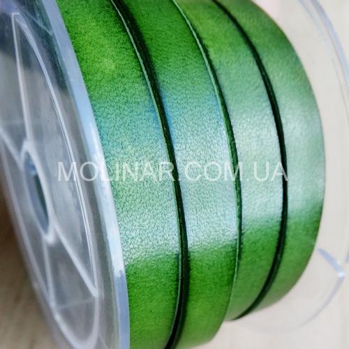 6.0 х 2.0 Кожаный плоский шнур HQ (Krast) | Зеленый