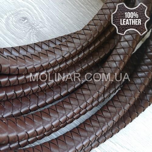 7х3мм Кожаный плетеный шнур (Krast) | Коричневый
