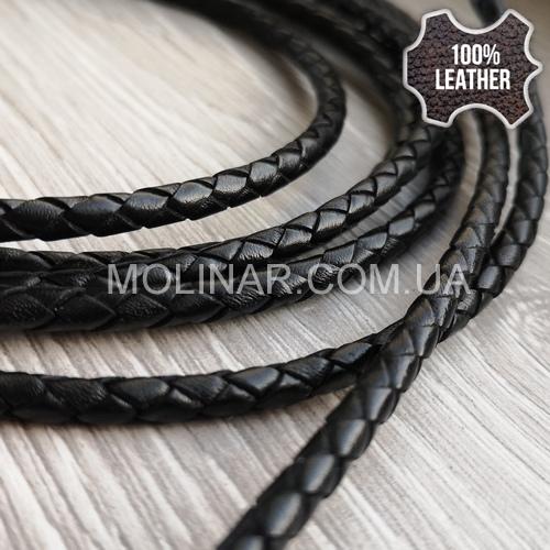 ∅4.0 Кожаный плетеный шнур 404 (Krast) | Черный