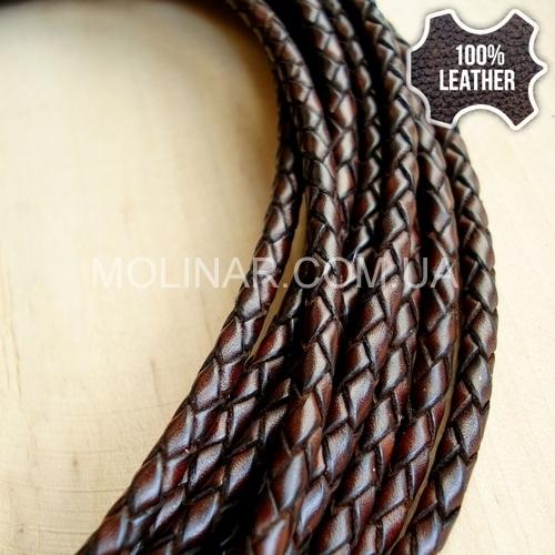 ∅3.5 Кожаный плетеный шнур (Antique NS) | Коричневый