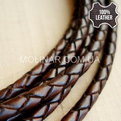 ∅4.5 Кожаный плетеный шнур (Antique NS) | Коричневый