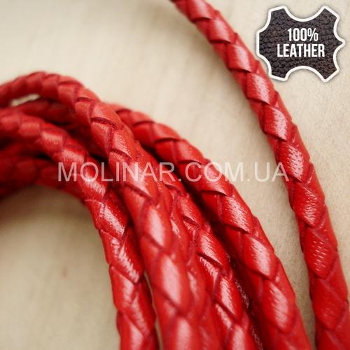 ∅4.0 Кожаный плетеный шнур 404 (Krast) | Красный