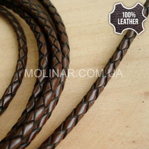 ∅3.0 Кожаный плетеный шнур (Krast) | Dark Brown