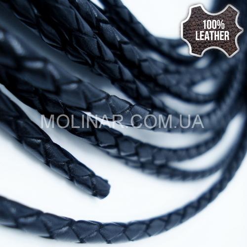 ∅3.0 Кожаный плетеный шнур (Krast CL) | Черный