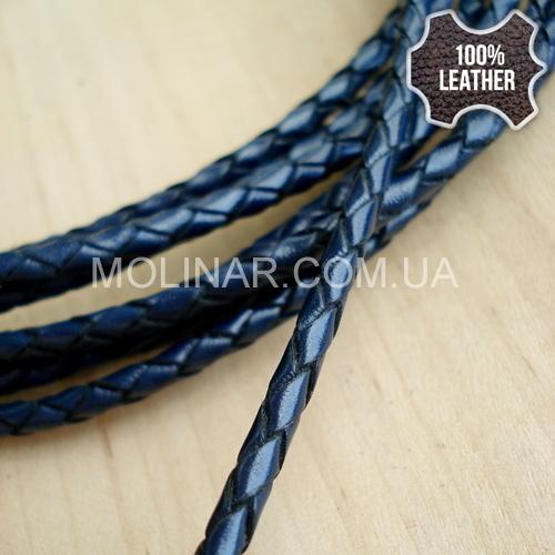 ∅3.0 Кожаный плетеный шнур (Krast) | Navy Blue