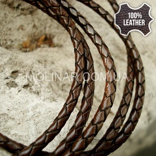 ∅3.5 Кожаный плетеный шнур (Krast) | Dark Brown