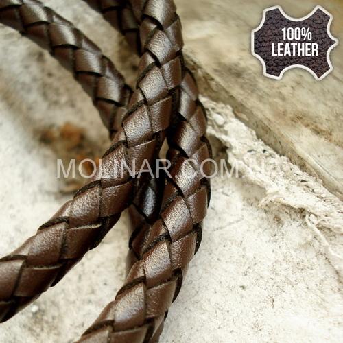 ∅6.0 Кожаный плетеный шнур 606 (Krast) | Коричневый