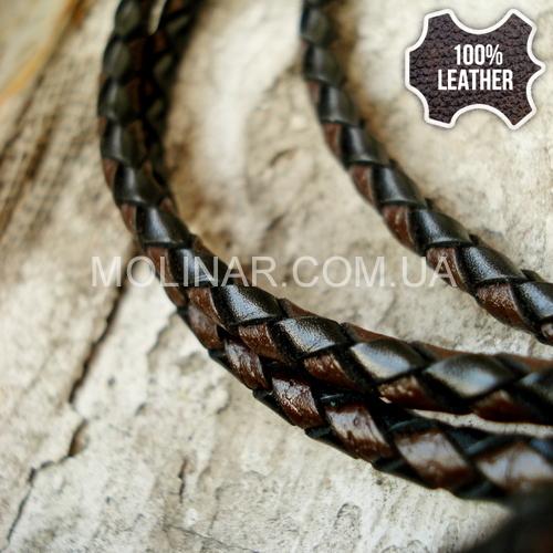 ∅3.0 Кожаный плетеный шнур (Krast) | Black & Brown