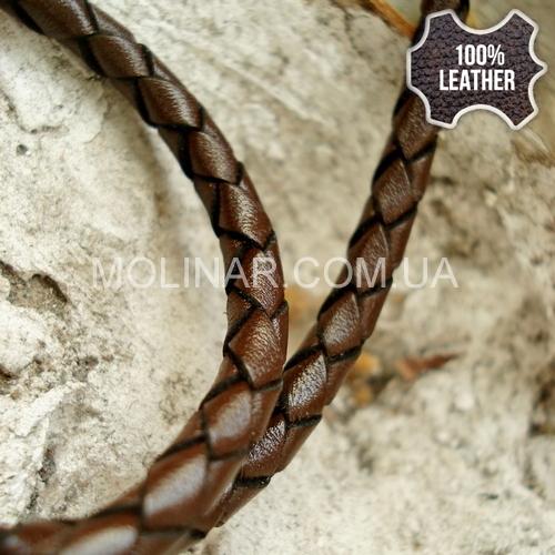 ∅4.0 Кожаный плетеный шнур (Krast) | Dark Brown