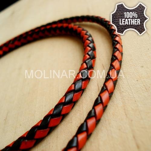 ∅5.0 Кожаный плетеный шнур 506 (Krast) | Black & Orange