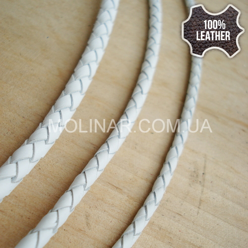 ∅5.0 Кожаный плетеный шнур 506 (Krast) | Белый