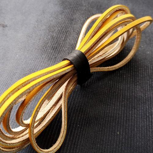 Шнурки кожаные для обуви 3.0х2800мм | Желтый