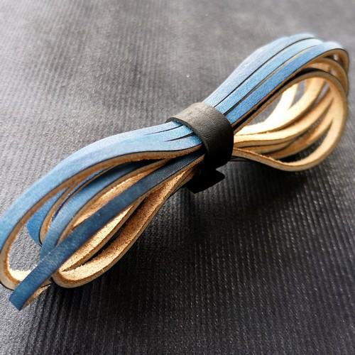 Шнурки кожаные для обуви 3.0х2800мм | Синий