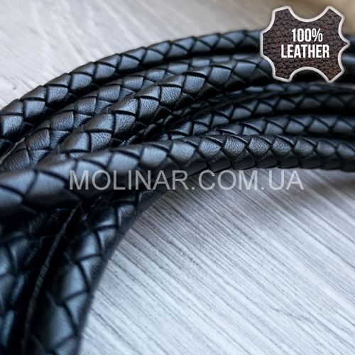 ∅6.0 Кожаный плетеный шнур 606 (Krast) | Черный