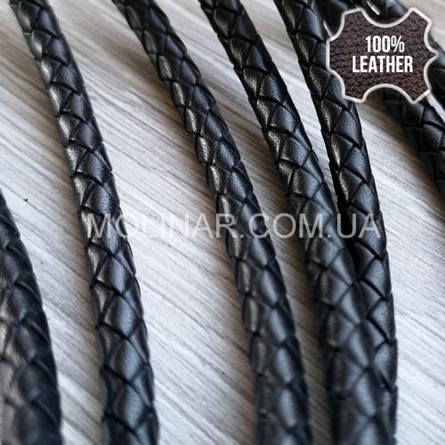 ∅5.0 Кожаный плетеный шнур 506 (Krast) | Черный