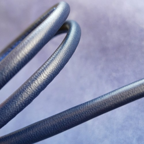 ∅5.0 Кожаный шнурок прошитый Nappa (Krast) | Синий