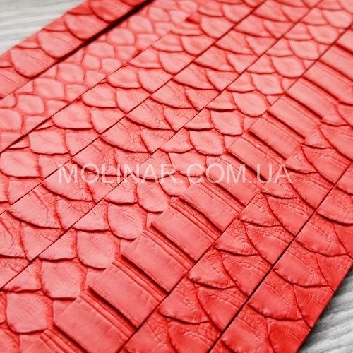 Полоса из кожи питона (25см) 8 х 3 | Красный