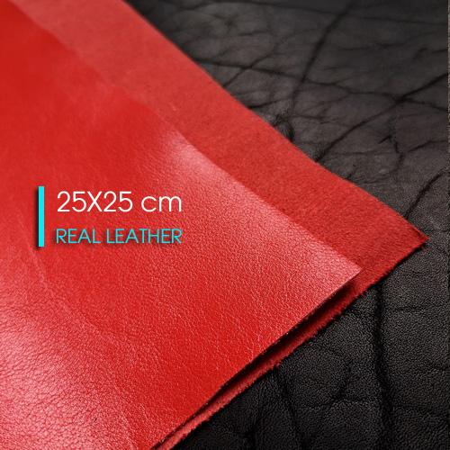 Лист из натуральной кожи 25 X 25 cm | Красный
