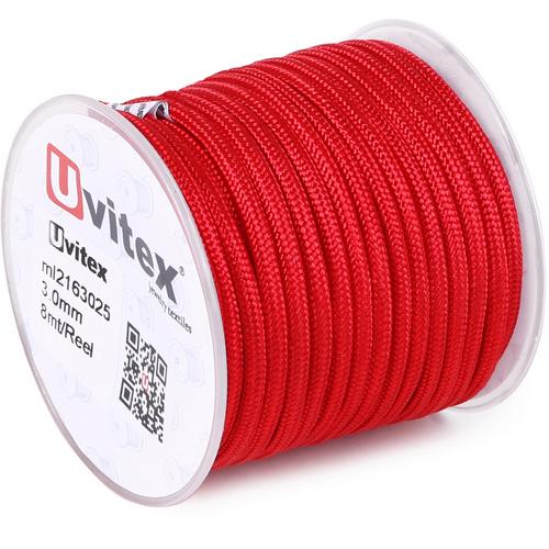 ∅3.0 - М216 - Шелковый плетеный шнур | Красный