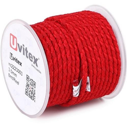 ∅3.0 - М222 - Шелковый плетеный шнур | Красный