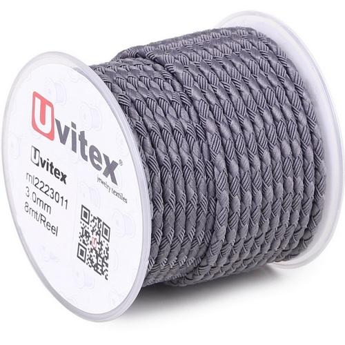 ∅3.0 - М222 - Шелковый плетеный шнур | Серый