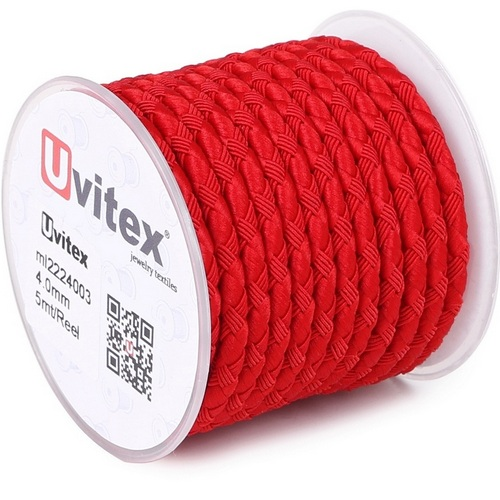 ∅4.0 - М222 - Шелковый плетеный шнур   Красный