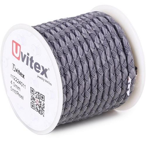 ∅4.0 - М222 - Шелковый плетеный шнур | Серый