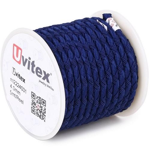 ∅4.0 - М222 - Шелковый плетеный шнур | Синий