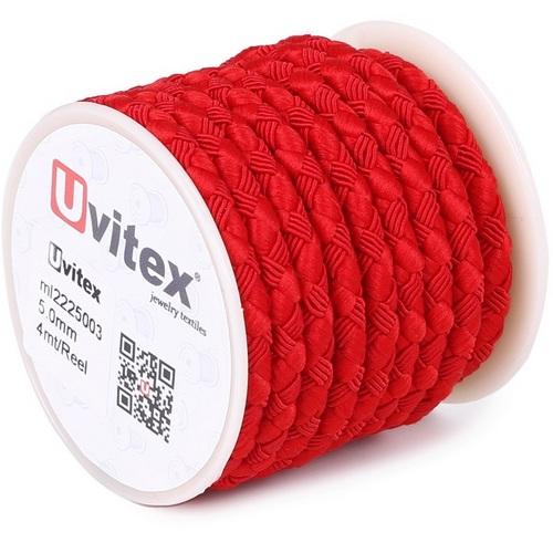 ∅5.0 - М222 - Шелковый плетеный шнур   Красный