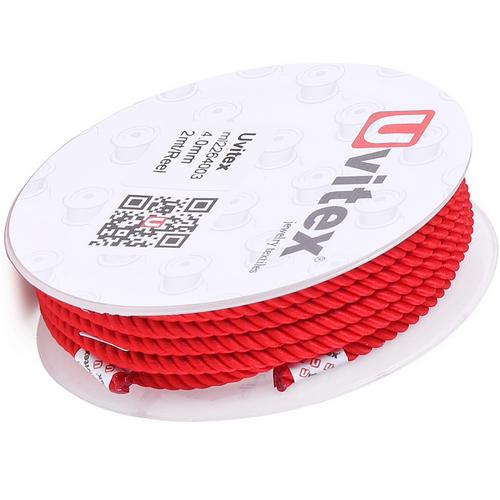 ∅4.0 - М226 - Шелковый плетеный шнур   Красный